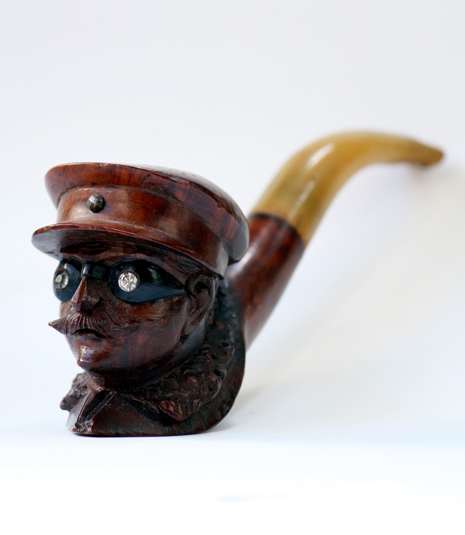 c.1905 Motorist Face Wooden Smoking Pipe