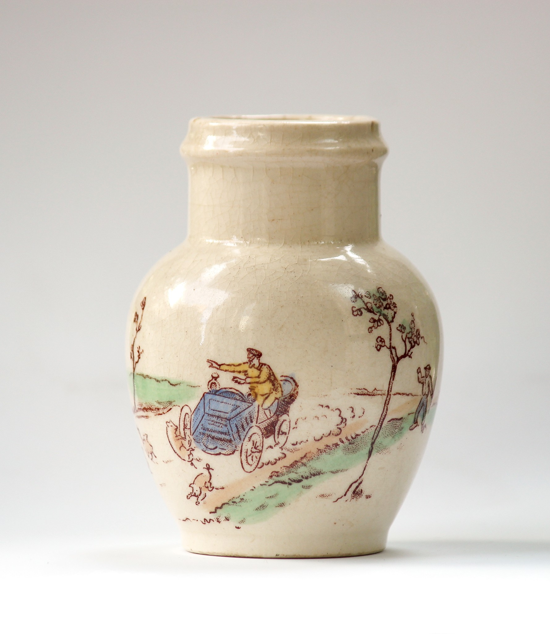 Mustard Pot with motoring scene by Gien