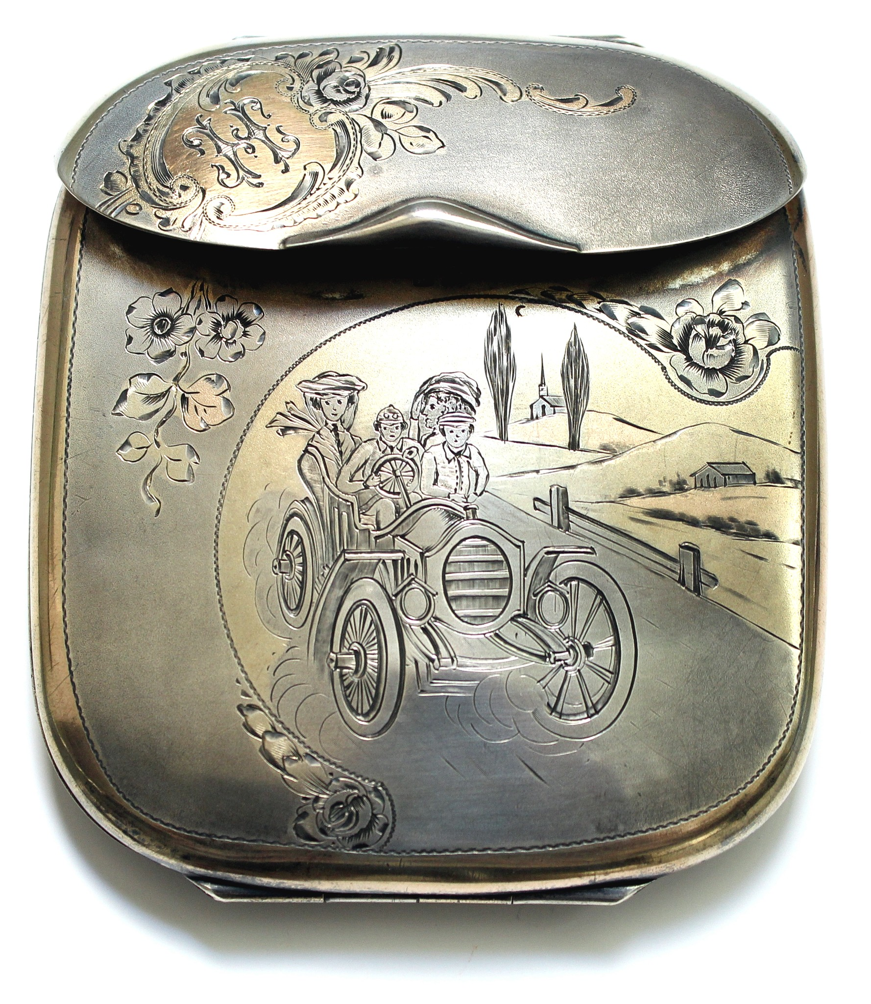 Silver cigarette case with motoring motif
