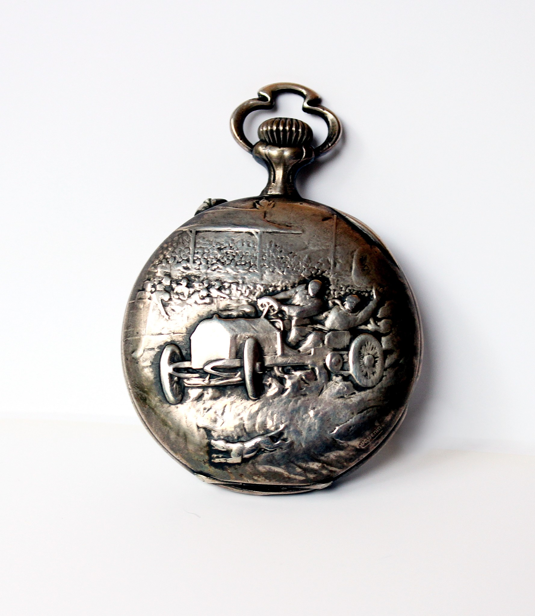 Pocket watch with motoring scene by Climax