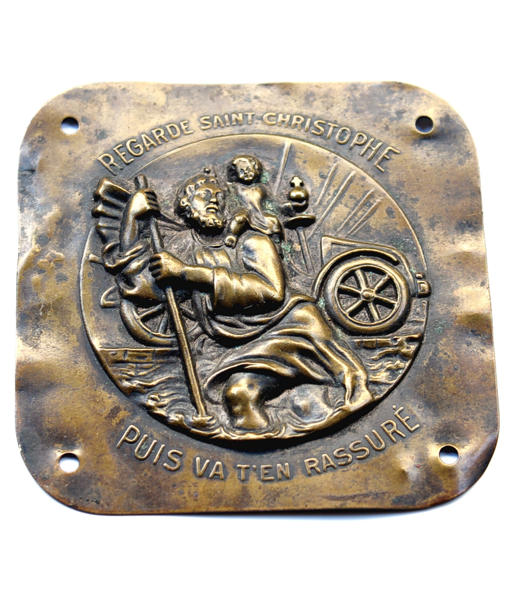 Large St.Christopher plaque with motor car