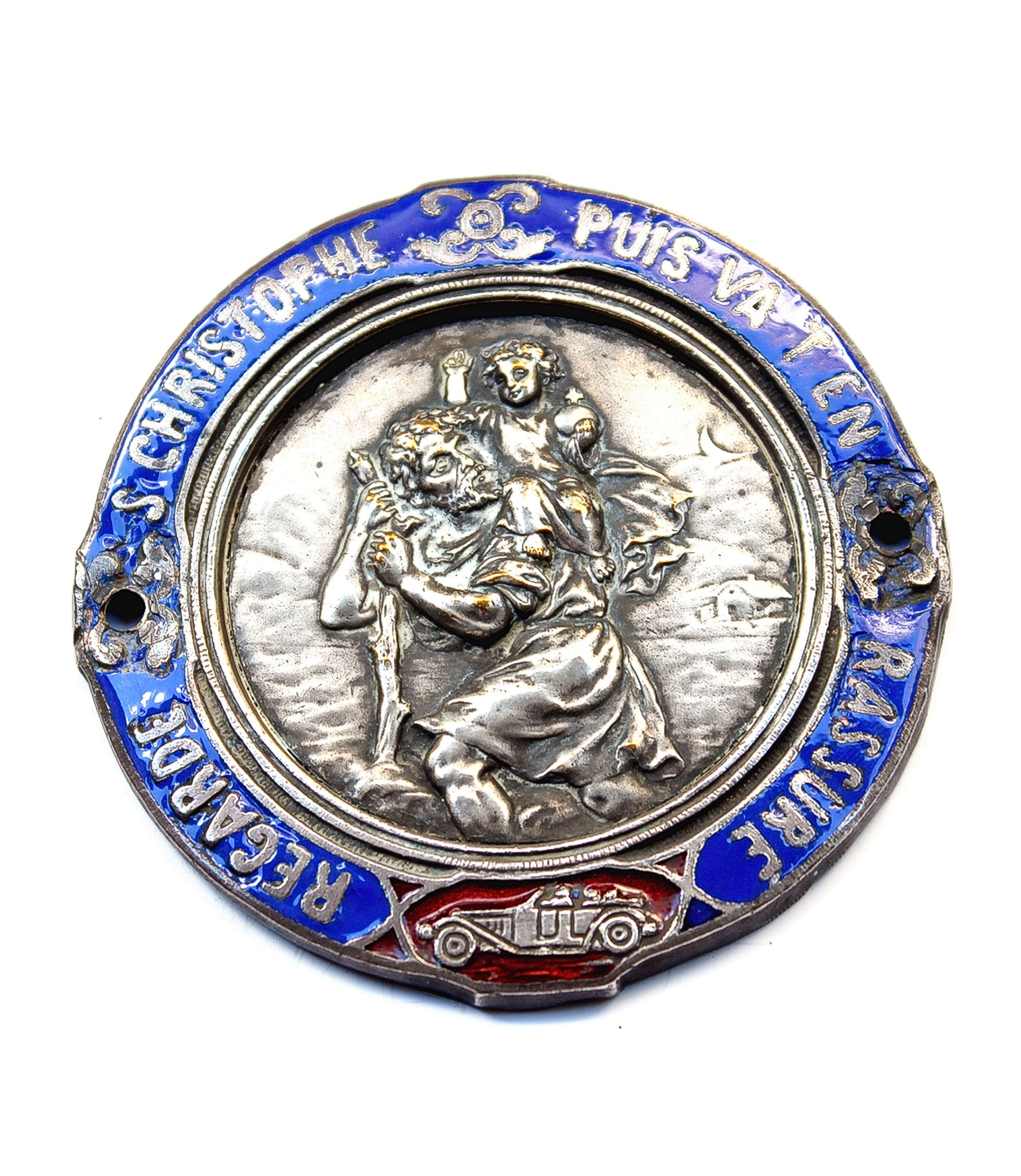 Highly decorated St.Christopher dashboard badge