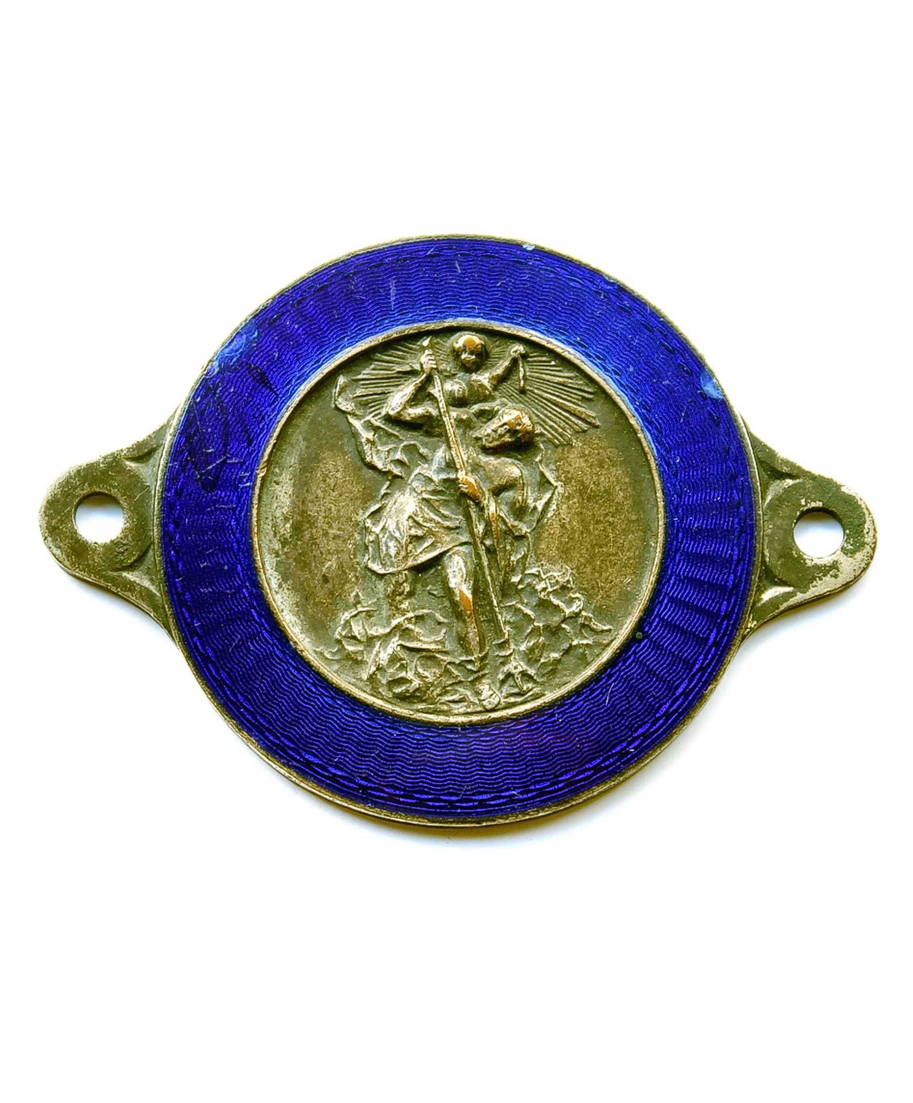 Silver plated bronze with enamel over guilloche St.Christopher badge for sale